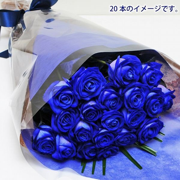 バラ 花束 青 薔薇 青いバラ20本花束  誕生日花ギフト ブルーローズ プレゼント ホワイトデー|flower|02