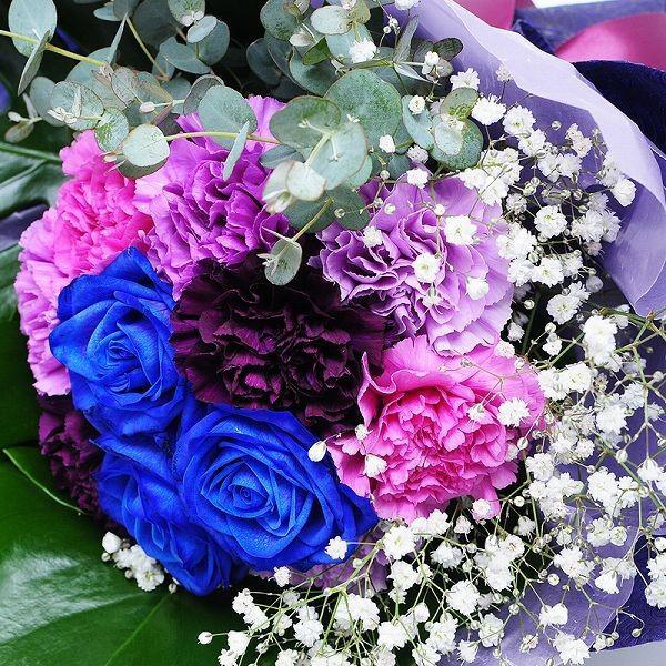 誕生日 ギフト 花 花贈る プレゼント 贈り物 ムーンダストと青いバラのブーケ|flower|02