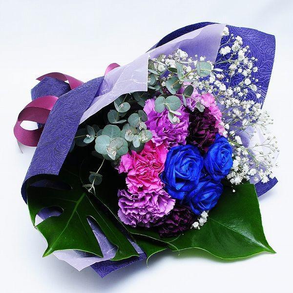 誕生日 ギフト 花 花贈る プレゼント 贈り物 ムーンダストと青いバラのブーケ|flower|04