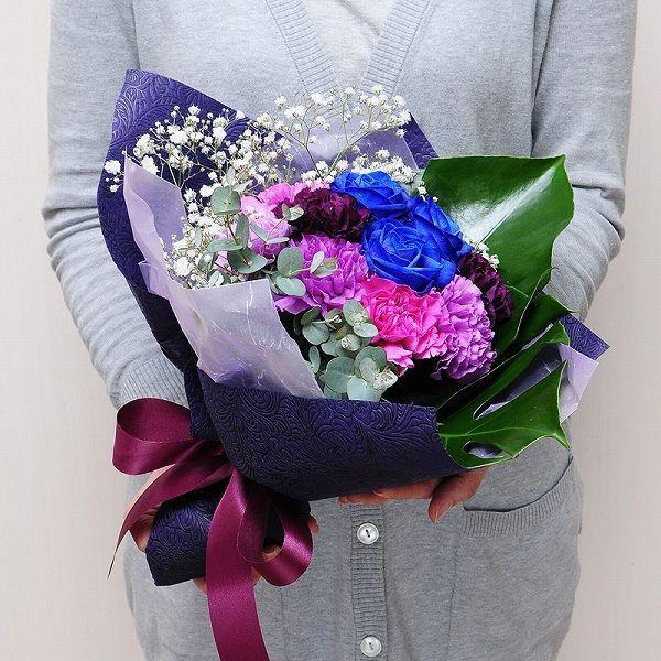 誕生日 ギフト 花 花贈る プレゼント 贈り物 ムーンダストと青いバラのブーケ |flower|05