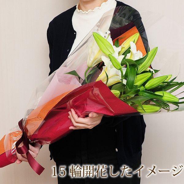 花束 ギフト 大輪カサブランカの花束 プレゼント ゆり ユリ 百合 お祝い花束 翌日配達 あすつく|flower|05