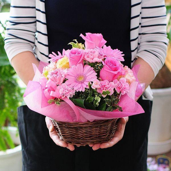 お花のギフト誕生日の花 アレンジメント オンリーピンク Mサイズ お祝い 花 おしゃれ お花のギフト 翌日配達|flower|05