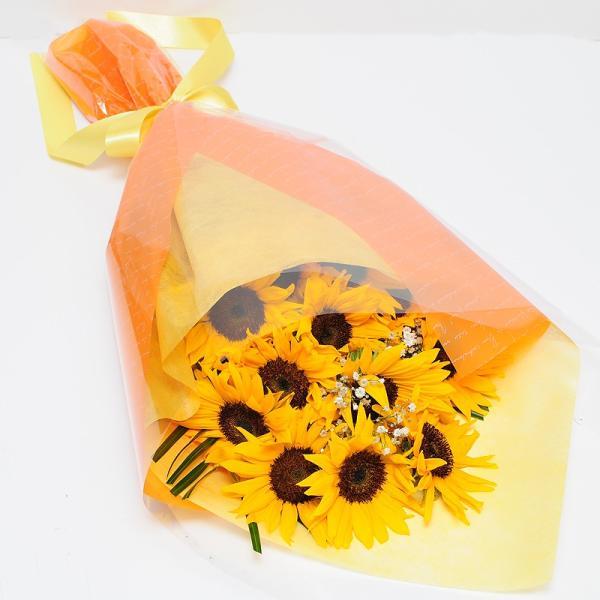 オレンジイエローの花 ギフト ひまわりの花束  ヒマワリ 向日葵 Lサイズ ギフト flower 02