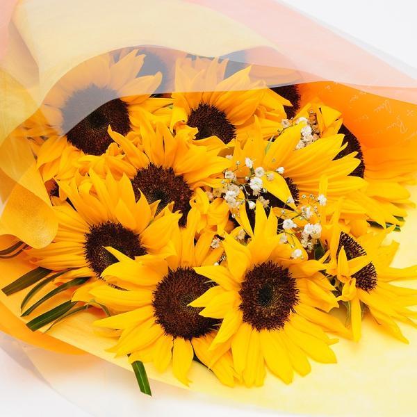 オレンジイエローの花 ギフト ひまわりの花束  ヒマワリ 向日葵 Lサイズ ギフト flower 03