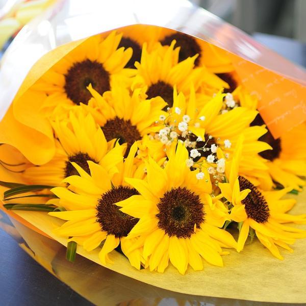 オレンジイエローの花 ギフト ひまわりの花束  ヒマワリ 向日葵 Lサイズ ギフト flower 06