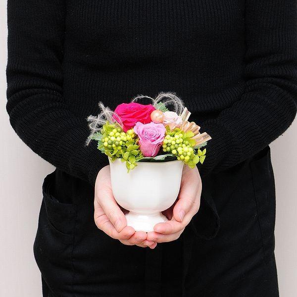 誕生日 お祝い 花 プリザーブドフラワー  フルールミニョン スイーツセット  クリアケース  プレゼント|flower|04