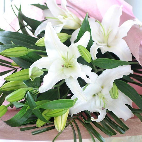花束ギフト フラワーギフト 白ユリの花束 100輪 誕生日 ゆり 百合 翌日配達|flower|02