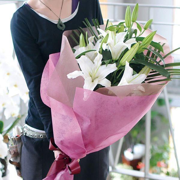 花束ギフト フラワーギフト 白ユリの花束 100輪 誕生日 ゆり 百合 翌日配達|flower|03