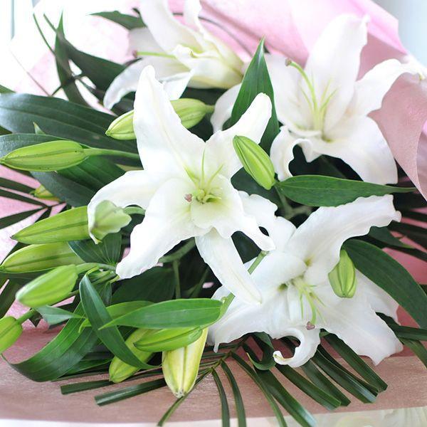 花束ギフト フラワーギフト 白ユリの花束35輪   誕生日 ゆり 百合 翌日配達 flower 02