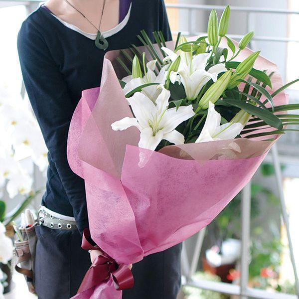 花束ギフト フラワーギフト 白ユリの花束35輪   誕生日 ゆり 百合 翌日配達 flower 03