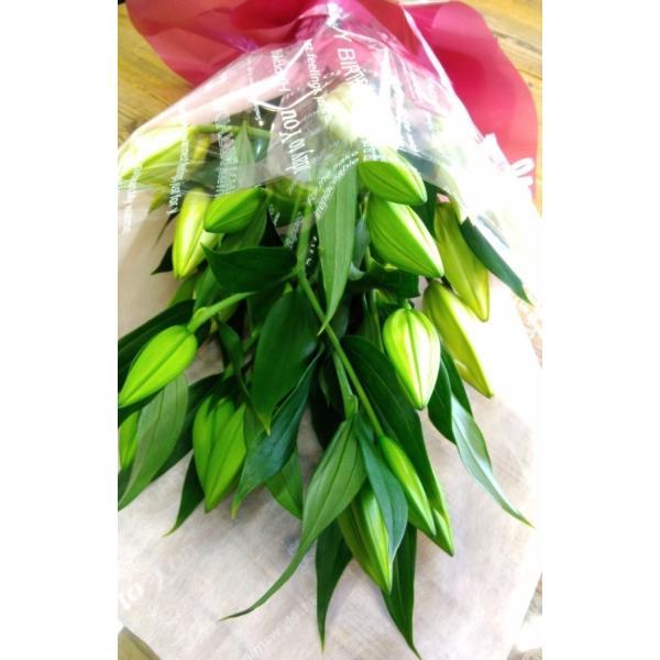 長いユリが5本の花束、大切な人へのギフト、お誕生日などに|flowerexpress-com|14