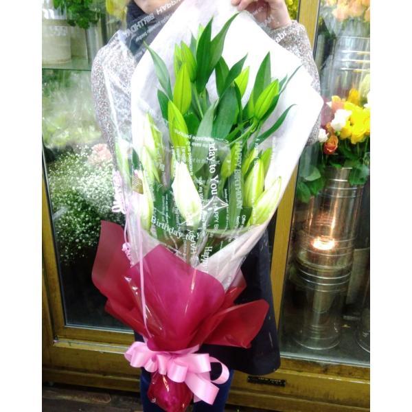 長いユリが5本の花束、大切な人へのギフト、お誕生日などに|flowerexpress-com|15
