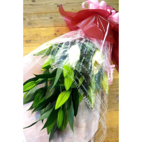 長いユリが5本の花束、大切な人へのギフト、お誕生日などに|flowerexpress-com|16