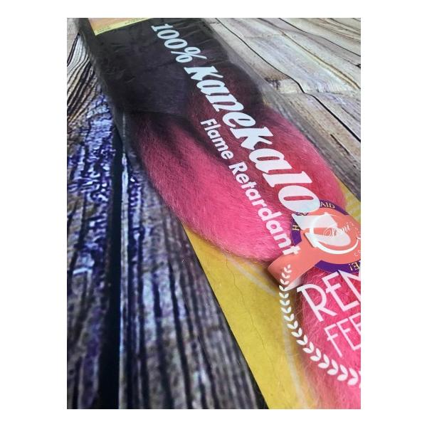KANEKALON BRAIDS カネカロン ブレイズ Ombre #BL-PU-PI(ブラック、パープル、ピンクのグラデーション)