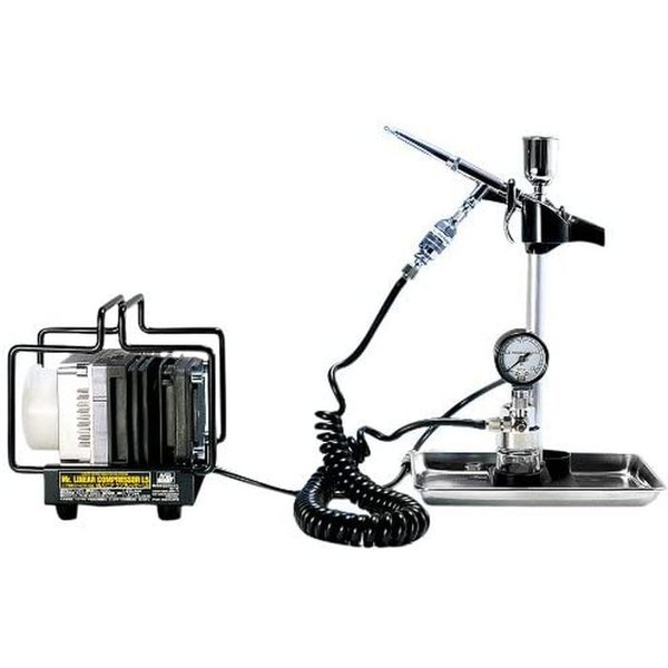 エアブラシ+コンプレッサーセット Mr.リニアコンプレッサー L5/LWAトリガーブラシ・圧力計付レギュレーターセット GSIクレオス PS306