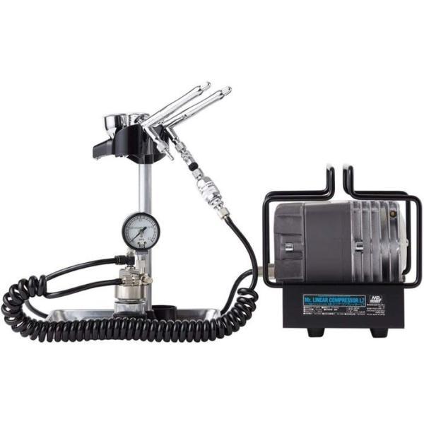 エアブラシ+コンプレッサーセット Mr.リニアコンプレッサー L7/プラチナツイン・圧力計付レギュレーターセット GSIクレオス PS319