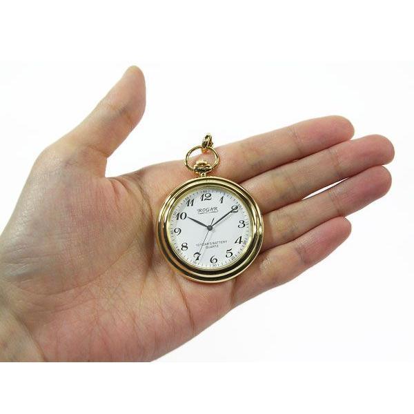 懐中時計 ROGAR ロガール 日本製 厚金仕上げ22K10ミクロン チェーン付き 数字 10年電池|fnetscom|03