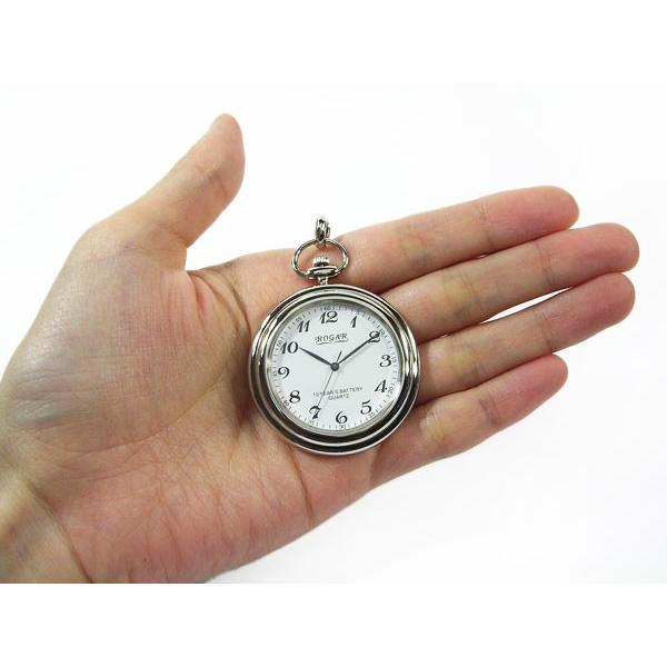 懐中時計 ROGAR ロガール 日本製 銀無垢純銀 チェーン付き ローマ数字×アラビア数字 10年電池|fnetscom|05