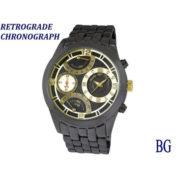 Charles ご予約品 Perrin シャルル ぺリン 低価格化  腕時計 レトログラードクロノ 黒 CP228G-BG 男性 送料無料 メンズ ブラックゴールド