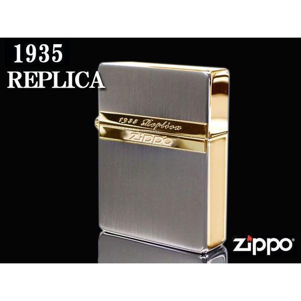 zippo ライター ジッポー1935 復刻版 レプリカ Mirror Line ミラーライン SG シルバー&ゴールド NEW1935ZIPPO|fnetscom|03