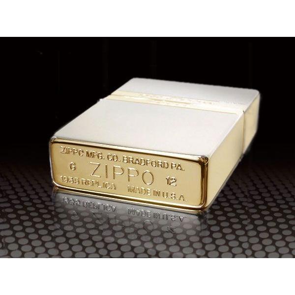 zippo ライター ジッポー1935 復刻版 レプリカ Mirror Line ミラーライン SG シルバー&ゴールド NEW1935ZIPPO|fnetscom|04