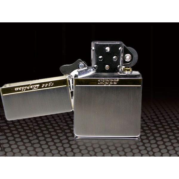 zippo ライター ジッポー1935 復刻版 レプリカ Mirror Line ミラーライン SG シルバー&ゴールド NEW1935ZIPPO|fnetscom|05