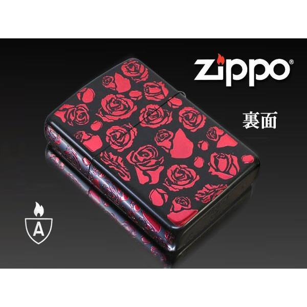 zippo ジッポー ライター アーマー ブラックマットイオンローズA バラ薔薇 赤|fnetscom|02