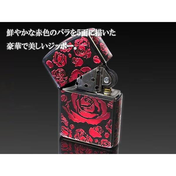 zippo ジッポー ライター アーマー ブラックマットイオンローズA バラ薔薇 赤|fnetscom|03
