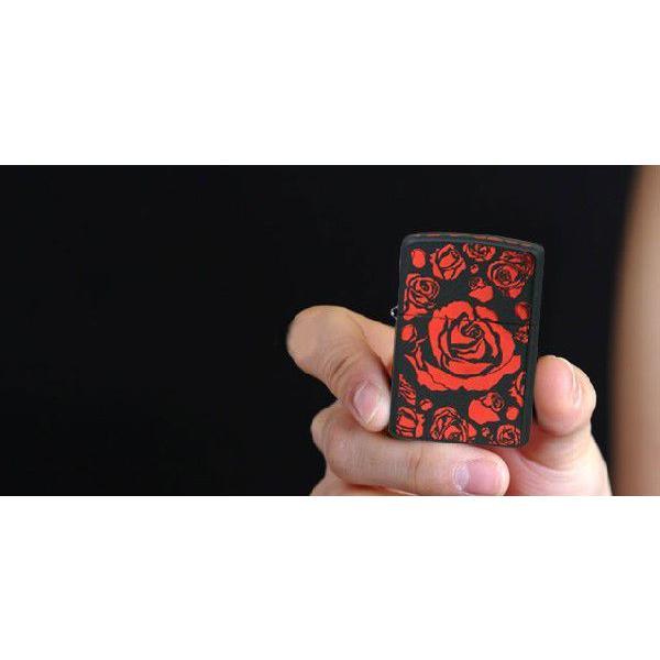 zippo ジッポー ライター アーマー ブラックマットイオンローズA バラ薔薇 赤|fnetscom|04