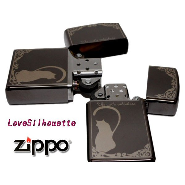 zippoライター ジッポー ペア LOVE SERIES ラブ シルエット B LS-BN 黒 ニッケル ミラー|fnetscom|03