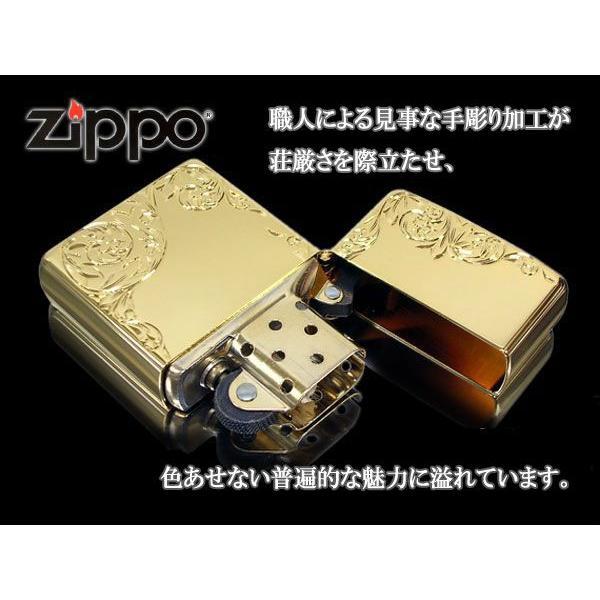 zippo ライター レギュラー 手彫り H.C ArabesqueB K24GP インサイドユニット金|fnetscom|03