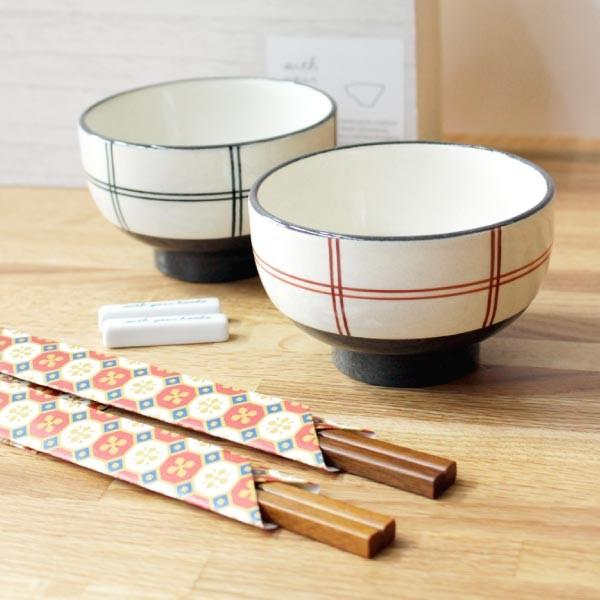 チェック ペア 飯碗 (箸・箸置付)木箱入 食器 茶碗 陶器 箸 箸置き キッチン 日本製 北欧 デザイン かわいい おしゃれ ギフト プレゼント fofoca|fofoca