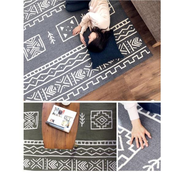 ラグマット カーペット 洗える おしゃれ 日本製 176×176cm ホットカーペット 対応 アーバンエスニック  正方形 丸洗いok リビング 洗える国産ラグ 約2畳 春夏|fofoca|03
