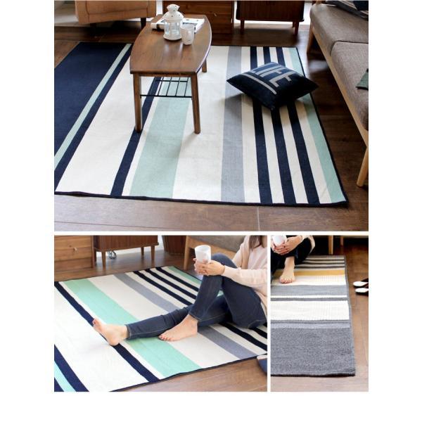 ラグマット カーペット 洗える おしゃれ 日本製 130×176cm ホットカーペット 対応 マルチボーダー 丸洗いok 絨毯 リビング 洗える国産ラグ 約1.5畳|fofoca|03