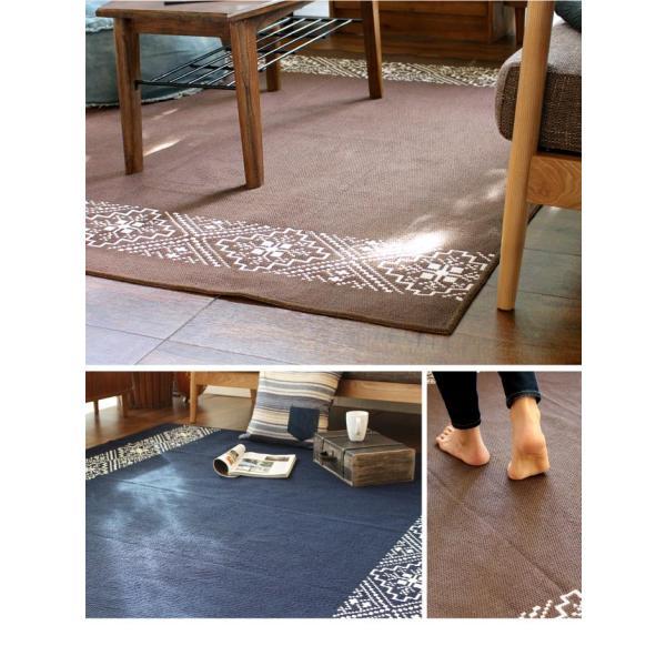 ラグ マット カーペット 洗える おしゃれ 日本製 176×176cm サイドライン 絨毯 洗える国産ラグ 約2畳 夏用 軽量|fofoca|03