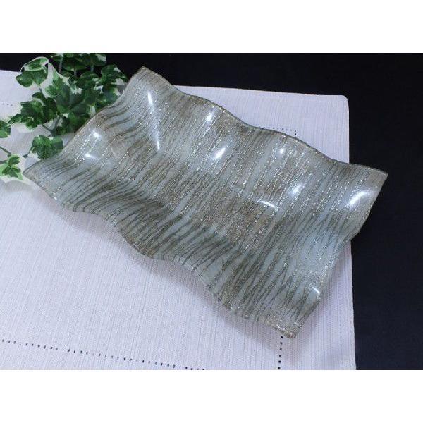 スクエア(四角) ガラストレイ 飾りプレート グレー系 (M002100 GL系)|fontana2014