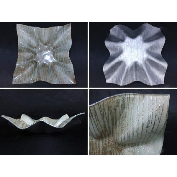 スクエア(四角) ガラストレイ 飾りプレート グレー系 (M002200 GL系)|fontana2014|03