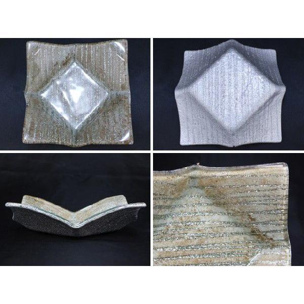 スクエア(四角) ガラストレイ 飾りプレート グレー系 (M001800 GL系) fontana2014 03