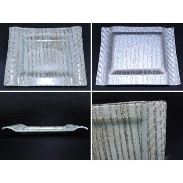 スクエア(四角) ガラストレイ 飾りプレート グレー系 (M001900 GL系)|fontana2014|03