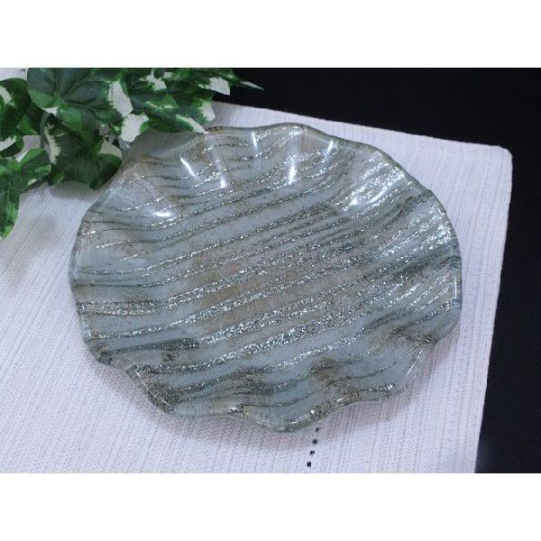 丸型 ガラストレイ 飾りプレート グレー系 (M002000 GL系)|fontana2014