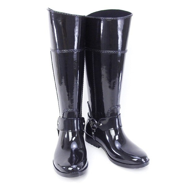 訳あり2 マイケル マイケルコース 靴 ラバー レイン ロングブーツ ブラック8Mサイズ (40F3FHFB6Q BLACK)