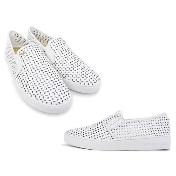 2016年春夏 マイケル マイケルコース MICHAEL MICHAEL KORS 靴 OLIVIA SLIP ON スニーカー スリッポン ホワイト (43S5OLFP1L OPTIC WHITE)