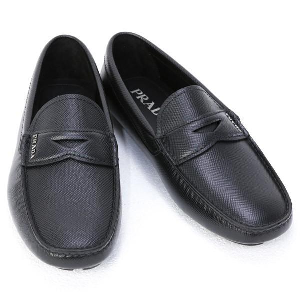 プラダPRADA靴メンズサフィアーノレザードライビングシューズローファーブラック(2DD1583E0NF0002NERO)202