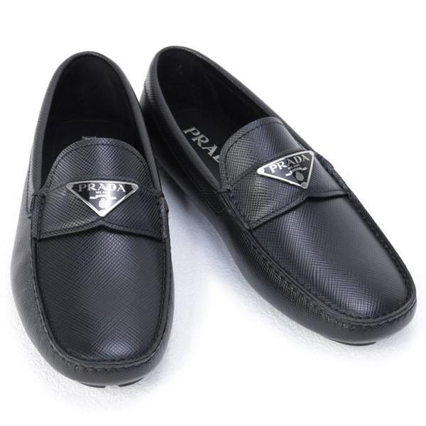 プラダPRADA靴メンズサフィアーノレザードライビングシューズローファーブラック(2DD1643E0NF0002NERO)202