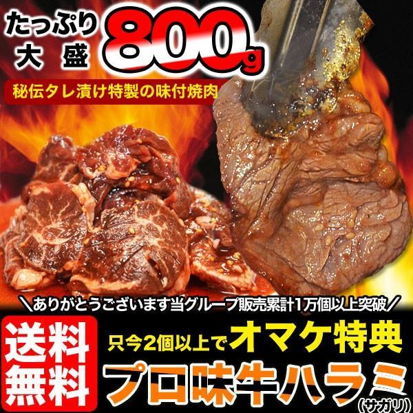 焼肉 BBQ バーベキュー はらみ 柔らか牛ハラミ(サガリ)800gタレ込み(1個注文で+250gおまけ付き)(2個注文で+2個おまけ付き)送料無料 冷凍|foodsland