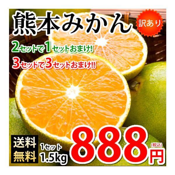 みかん 訳あり 送料無料 1.5kg 2セット購入で1セットおまけ 3セット購入で3セットおまけ 熊本みかん 熊本県産 極早生みかん 蜜柑 ミカン