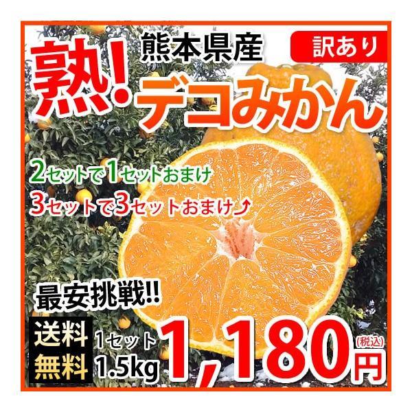 デコポン 同品種 訳ありデコみかん 1.5kg S〜2L 送料無料 2セットで1セットおまけ 3セットで3セットおまけ 熊本県産 ポンカン みかん ミカン 蜜柑|foodys