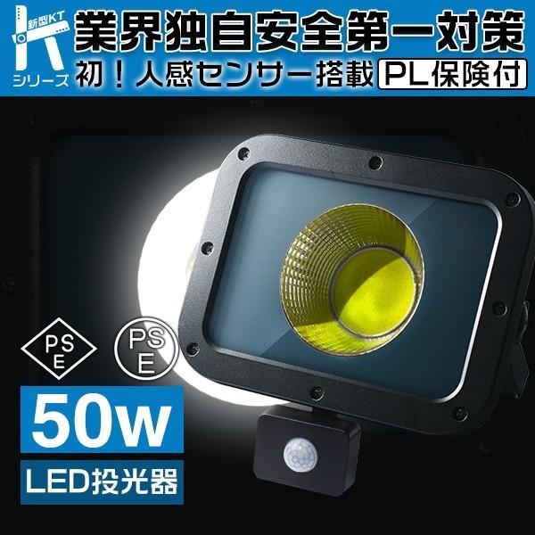 人感センサー搭載 業界独自安全第一対策 50W LED投光器作業灯 LEDワークライト 高輝度COBチップ搭載 10750lm PSE PL EMC対応 コンパクトサイズ 送料無料 1個 AI|force4future