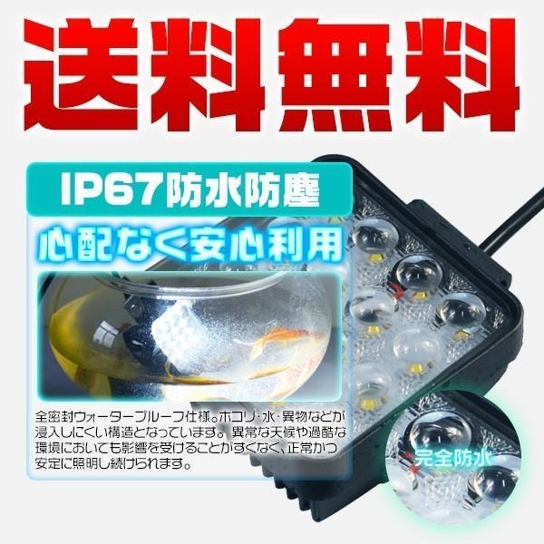 偽物にご注意 LEDワークライト led投光器 PMMAレンズ採用の新仕様 48WサーチライトLED作業灯 6000lm 30%UP 狭角広角 拡散集光 12/24V 送料無 1年保証 10個 TD force4future 06