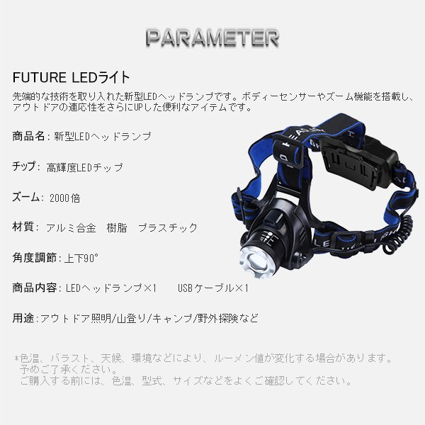 特売 LEDヘッドランプ 3モード 5200lm 懐中電灯 ヘッドライト 充電式 CREE ボディーセンサー 2000倍ズーム 送料込み 6ヶ月保証 1個YXD force4future 06